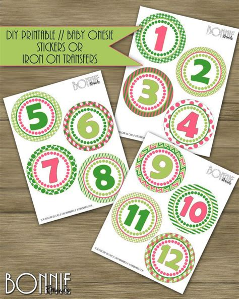 free printable iron on transfers for babies printable diy monthly baby stickers or iron on transfers