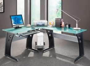 Glass L Shaped Office Desk Home Office Desks Glass Panel Steel Frame L Shaped Desk