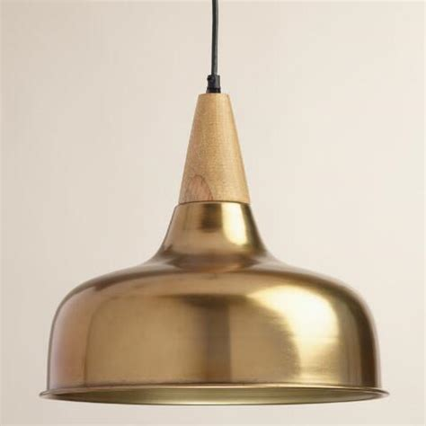 market pendant light brass and wood glenn pendant l market