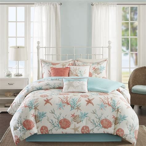 beach comforter set queen beautiful modern beach ocean sand seashell teal aqua blue