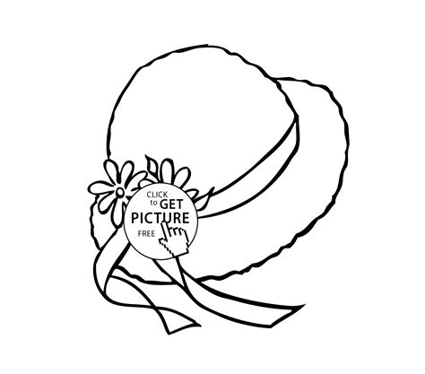 coloring pages of sun hats summer hat with ribbons coloring page for girls printable