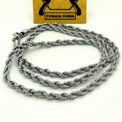 kalung titanium silver anti karat rantai anyam 70 cm kalung rantai tambang titanium pusaka dunia
