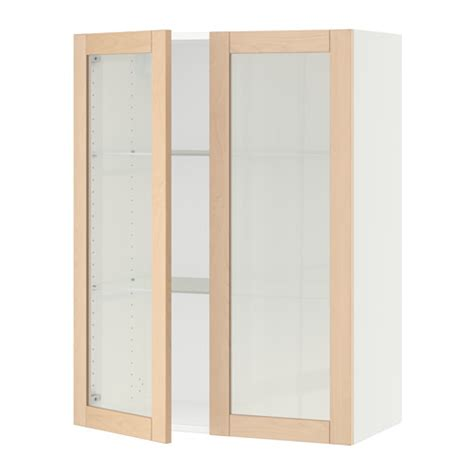 White Glass Cabinet Doors Sektion Wall Cabinet With 2 Glass Doors White Bj 246 Rket Birch 30x15x40 Quot Ikea