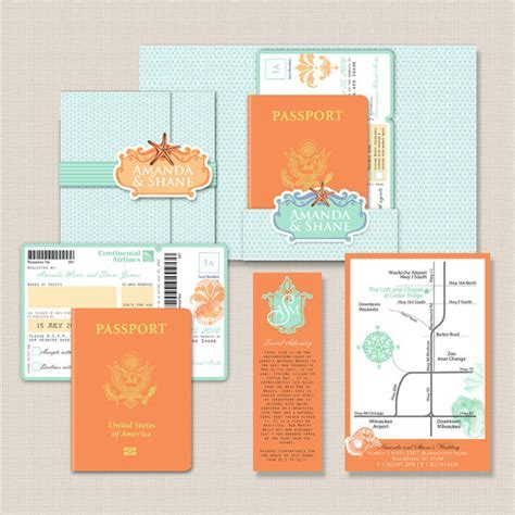 Passport Destination Wedding Invitations   Destination