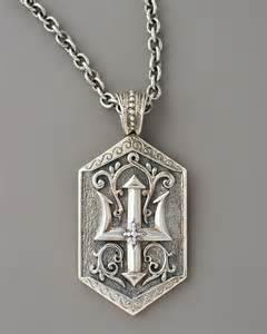 konstantino poseidon trident tag pendant in silver for