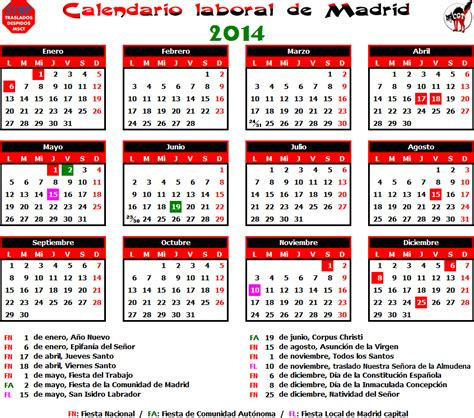 Calendario Laboral 2014 Gatos Sindicales Mad Calendario Laboral 2014 Madrid