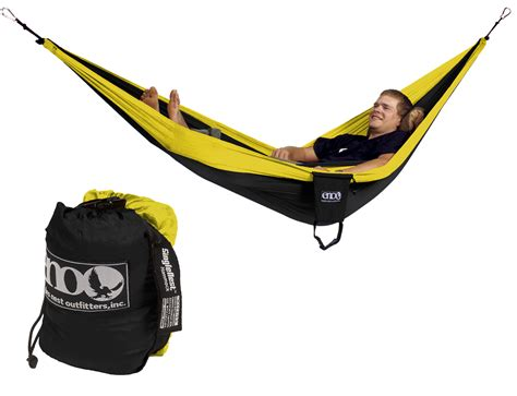 Hammock Eno Doublenest Black Yellow eno single nest hammock black yellow one person new