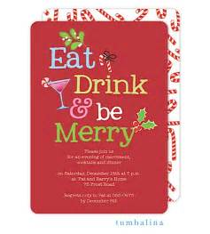 Office holiday and christmas party invitations eat drink and be merry