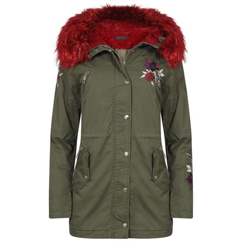 Hooded Zipped Jacket womens jacket zipped embroidery hooded faux parka fur