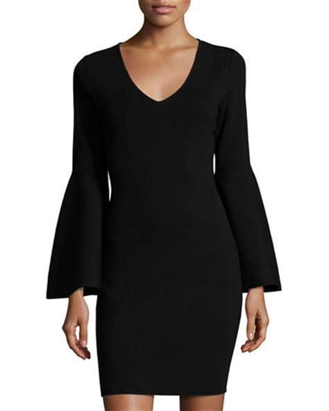 Sleeve V Neck Knit Dress milly v neck bell sleeve stretch knit minidress black