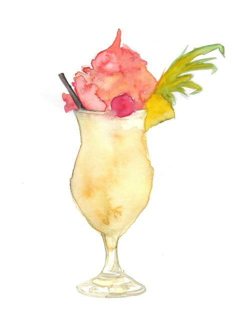 cocktail illustration pina colada cocktail cupcake watercolour http www