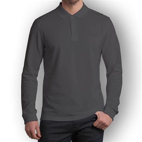 kaos polo lengan panjang abu tua simplivi clothing