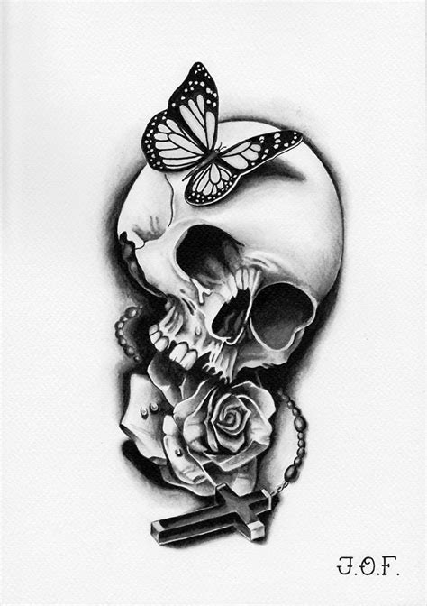 drawn butterfly skull rose pencil and in color drawn
