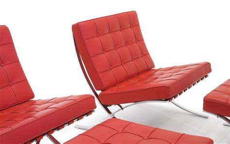 red ottomans for sale pair of red leather barcelona chairs only ottomans are