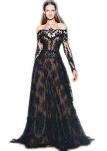 ibeauty long sleeve black lace evening a line long dress