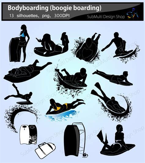 bodyboarding silhouette boogie boarding silhouettte vector