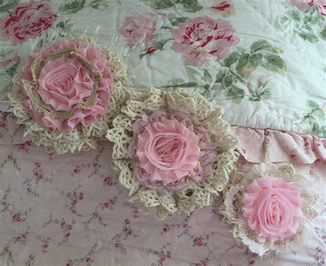 shabby chic fabric flowers cottage chic by shabbychicloft on etsy