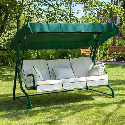 swing for your seats green roma 3 seater swing seat with luxury cushions alfresia