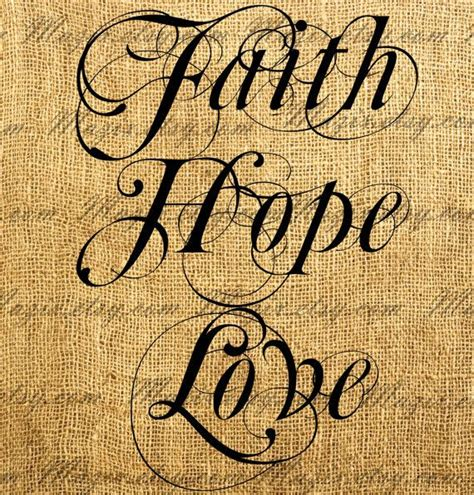 decorative calligraphy words faith hope love digital image - Decorative Goods Definition