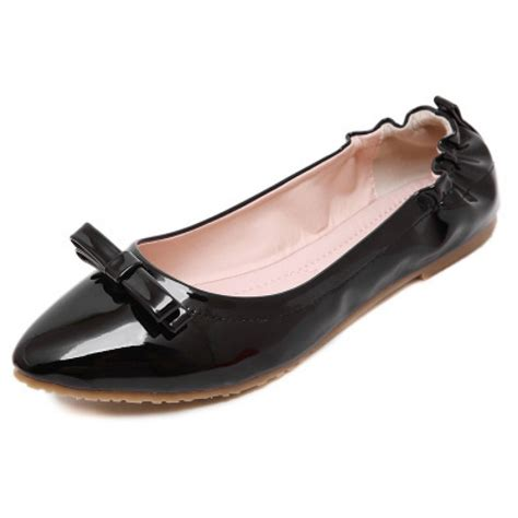 patent black pointed toe bow flats