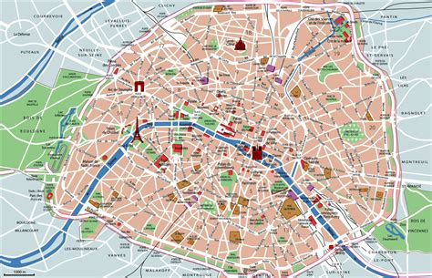 Beautiful Eiffel Tower by Paris Map With Top Sights Shops Hotels Paris Map Pdf