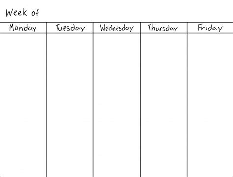 5 day weekly calendar template blank weekly calendars printable activity shelter