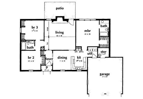 1400 square foot house plans ranch style house plan 3 beds 2 baths 1400 sq ft plan