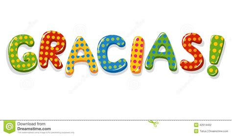 palabra pattern en espanol spanish word gracias colorful lettering stock vector