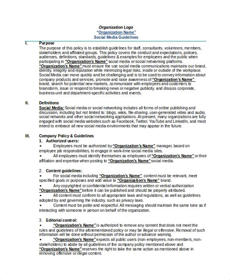 company social media policy template social media policy template 8 free word pdf document