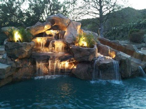 inground pools with waterfalls pools with waterfall and slide google search pool