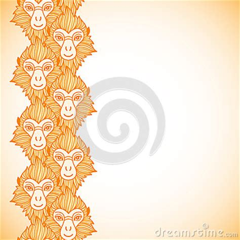 new year monkey border monkey heads new year vertical border stock vector image