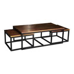 stunning nesting coffee table with solid brown wood