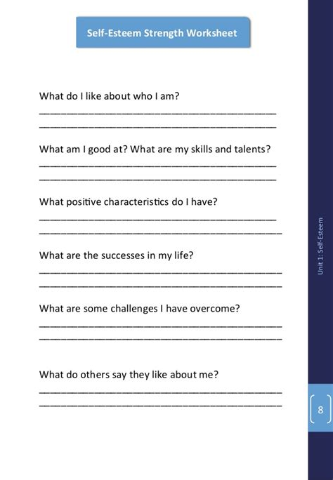 Self Acceptance Worksheets by Youth Power Curriculum