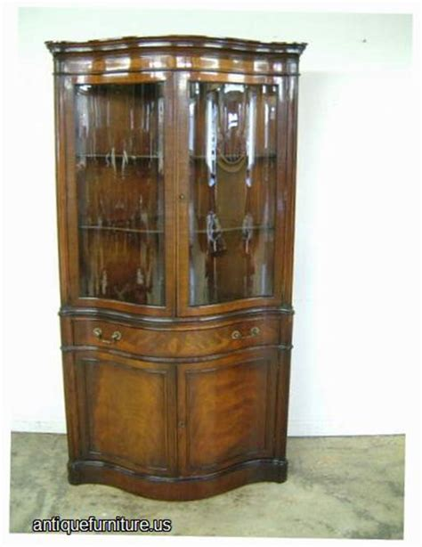 antique serpentine mahogany corner china cabinet in mint
