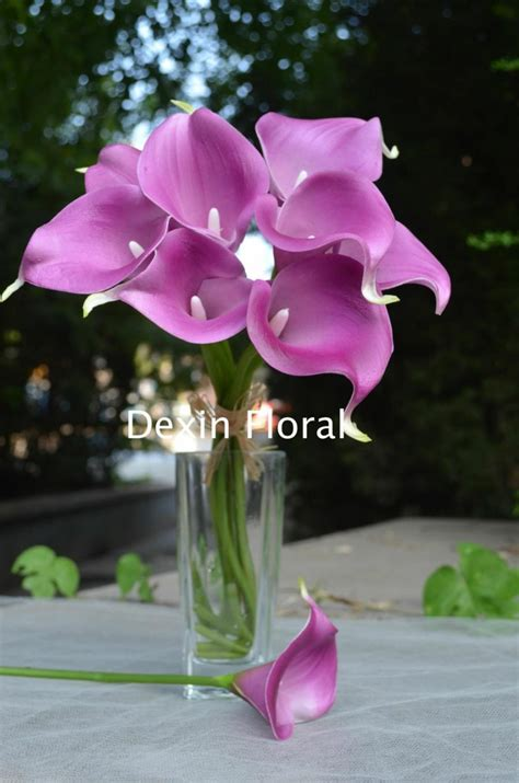 Real Touch Light Purple Calla Lilies For Lavender Silk Calla Lilies Centerpieces For Weddings