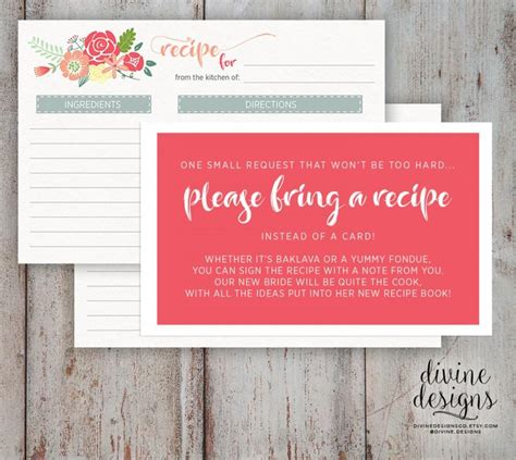 bridal shower recipe ideas recipe card bridal shower bring a recipe bridal shower idea instant