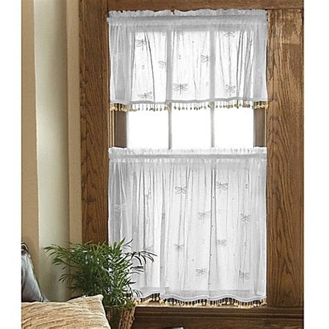 curtains with lace trim heritage lace 174 dragonfly window curtain tier with trim