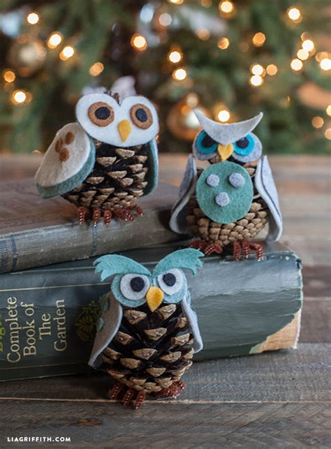 kids craft felt pinecone owl ornaments