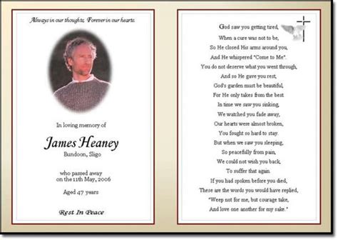 memorial card templates microsoft word funeral invitation template