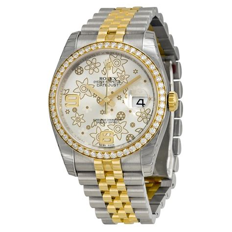 Rolex Oyster Rantai Gold rolex oyster perpetual datejust 36 silver floral stainless steel and 18k yellow gold