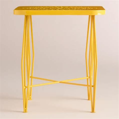 Yellow Metal Side Table Yellow Metal Alyssa Outdoor Hairpin Side Table World Market