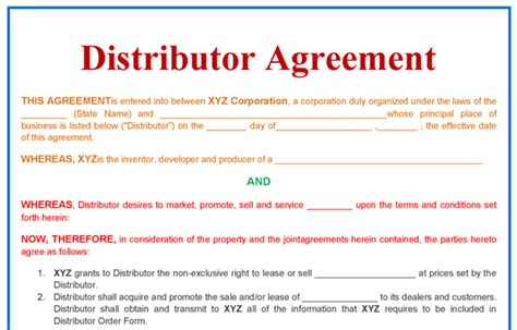 Distributor Agreement Templates In Word Format Excel Template Sle Distributor Agreement Template