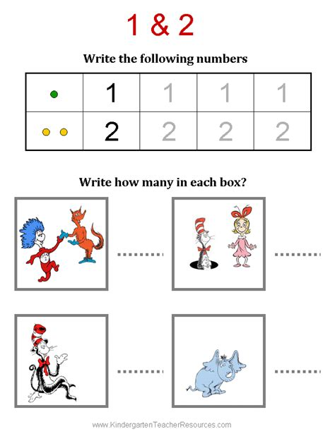 Dr Suess Worksheets by Free Dr Seuss Math Activities