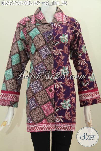 desain kemeja wanita gemuk baju batik blus jumbo desain dua motif dengan kerah kotak