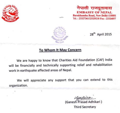 Nepal Embassy Letter Road To Redemption Help Nepal Rise Again Caf India
