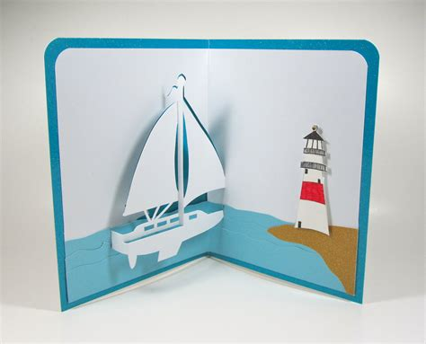 sailboat and lighthouse nautical pop up 3d card home by