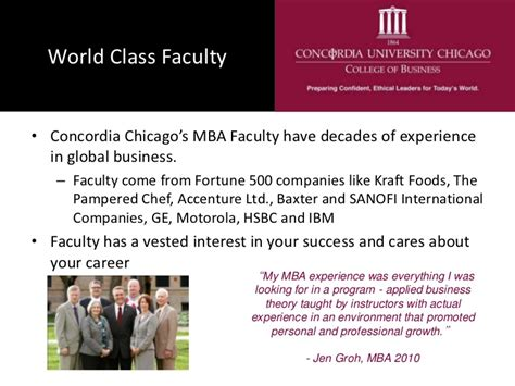 Concordia Chicago Mba by A Concordia Chicago Mba Or On Cus