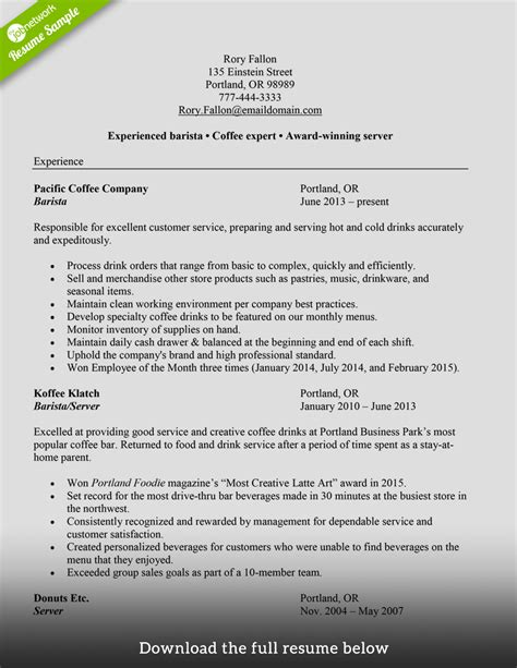 sle resume for barista position how to write a barista resume exles included