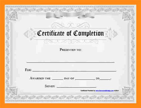 completion certificate template free 28 images free