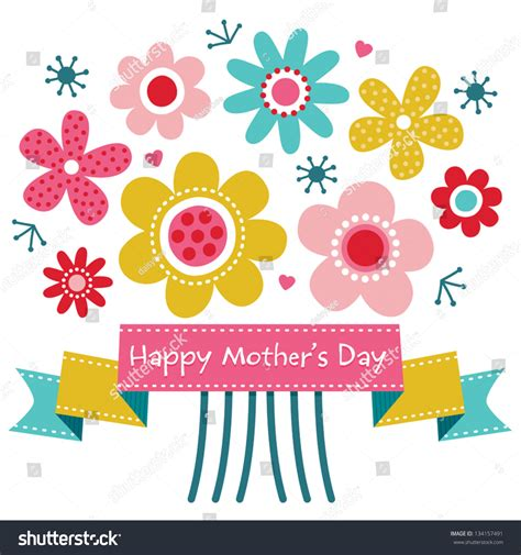 s day clip vector mothers day card bright colors stock vector